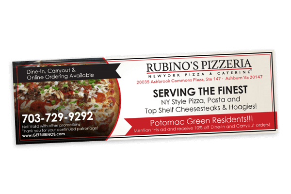 Rubino's Pizzeria new ad design