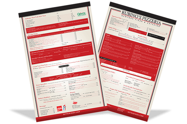 Rubino's Pizzeria new menu design