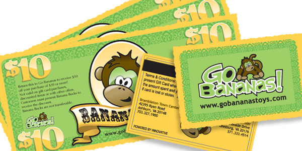 Go Bananas cards and bucks