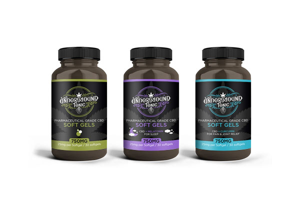 Underground Tonic's CBD Softgel Bottle Label designs