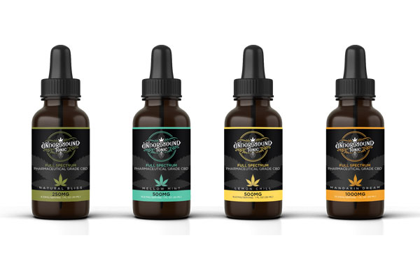 Underground Tonic's CBD Oil Tincture Label designs